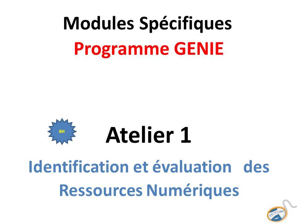 Modules Spécifiques Programme GENIE Atelier 1 Identification et évaluation des Ressources Numériques 6H