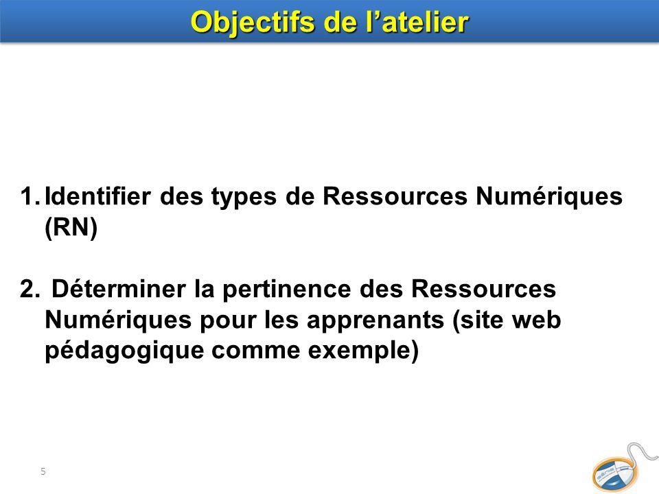 5 1.Identifier des types de Ressources Numériques (RN) 2. Déterminer la pertinence des Ressources Numériques pour les apprenants (site web pédagogique