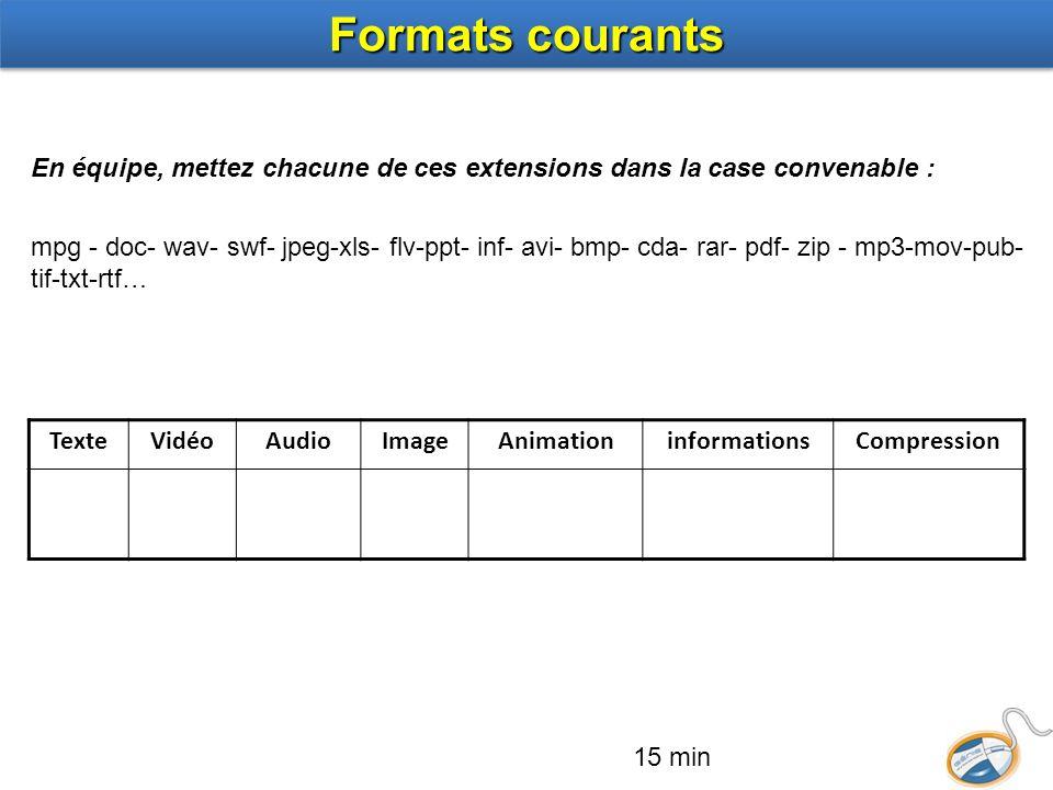 TexteVidéoAudioImageAnimationinformationsCompression En équipe, mettez chacune de ces extensions dans la case convenable : mpg - doc- wav- swf- jpeg-x