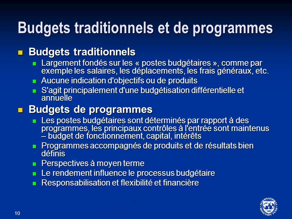 10 Budgets traditionnels et de programmes Budgets traditionnels Budgets traditionnels Largement fondés sur les « postes budgétaires », comme par exemp