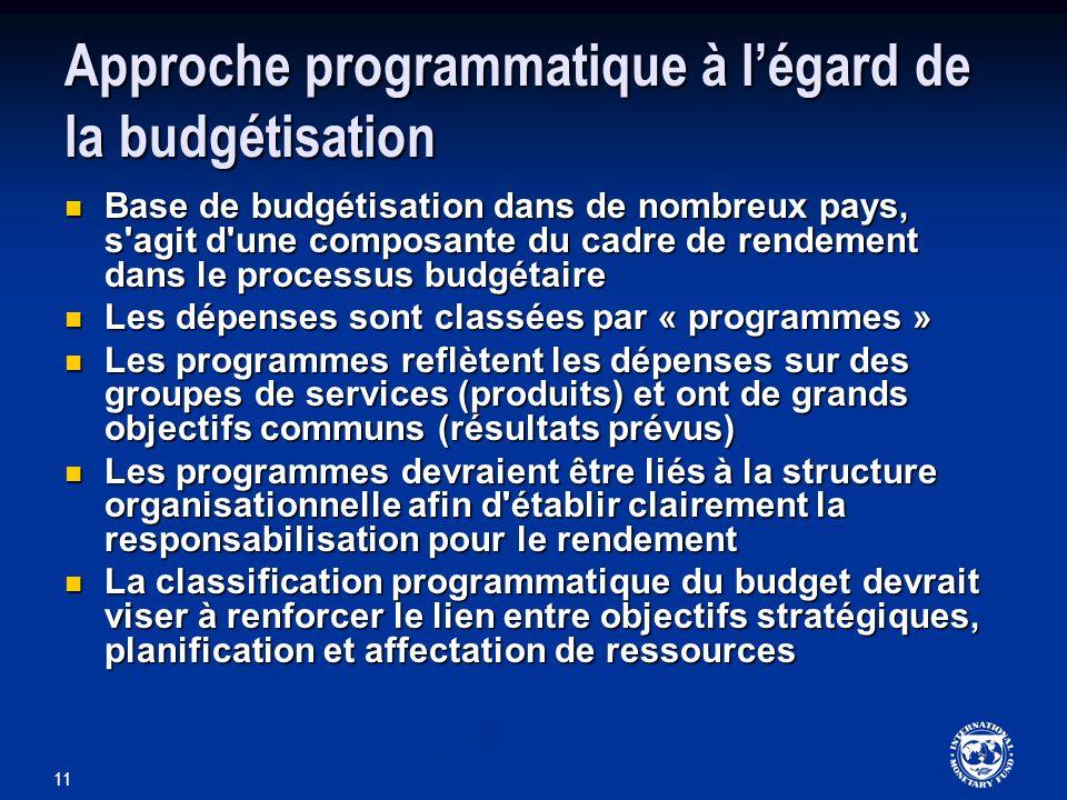 11 Approche programmatique à légard de la budgétisation Base de budgétisation dans de nombreux pays, s'agit d'une composante du cadre de rendement dan