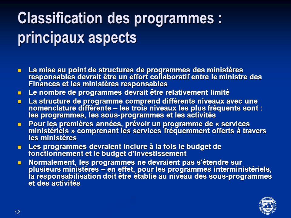 12 Classification des programmes : principaux aspects La mise au point de structures de programmes des ministères responsables devrait être un effort