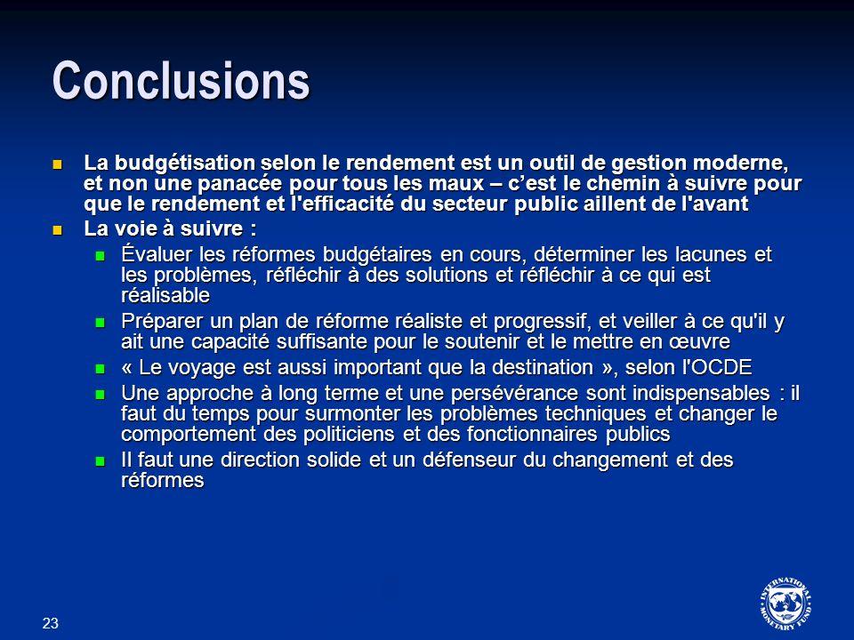 23 Conclusions La budgétisation selon le rendement est un outil de gestion moderne, et non une panacée pour tous les maux – cest le chemin à suivre po