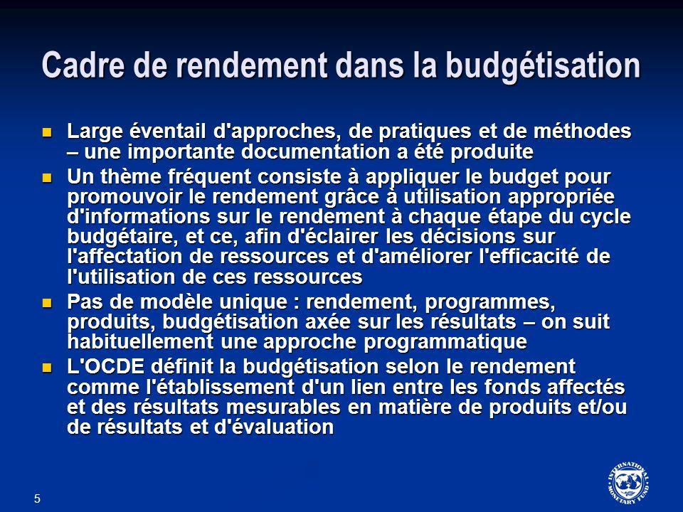 5 Cadre de rendement dans la budgétisation Large éventail d'approches, de pratiques et de méthodes – une importante documentation a été produite Large