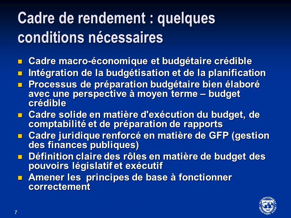 7 Cadre de rendement : quelques conditions nécessaires Cadre macro-économique et budgétaire crédible Cadre macro-économique et budgétaire crédible Int