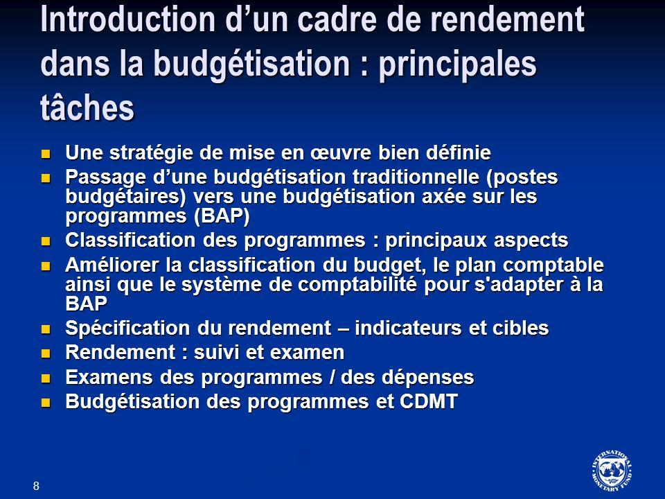 8 Introduction dun cadre de rendement dans la budgétisation : principales tâches Une stratégie de mise en œuvre bien définie Une stratégie de mise en