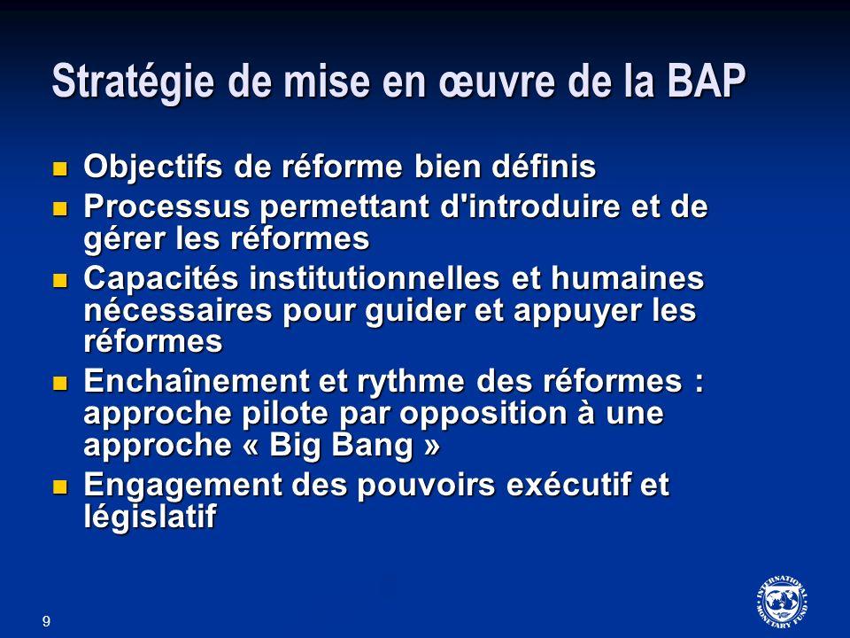 9 Stratégie de mise en œuvre de la BAP Objectifs de réforme bien définis Objectifs de réforme bien définis Processus permettant d'introduire et de gér