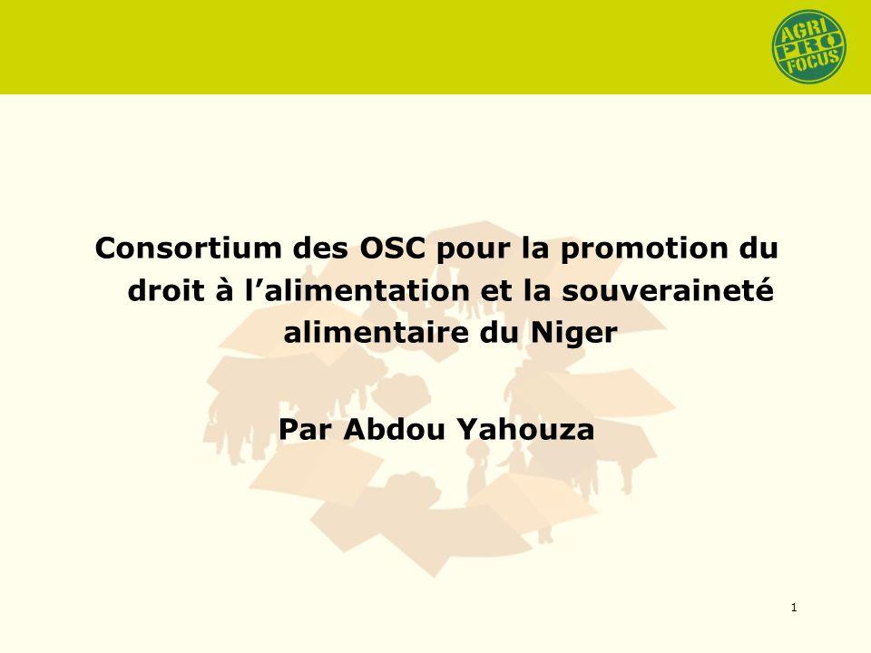 Consortium des OSC pour la promotion du droit à lalimentation et la souveraineté alimentaire du Niger Par Abdou Yahouza 1