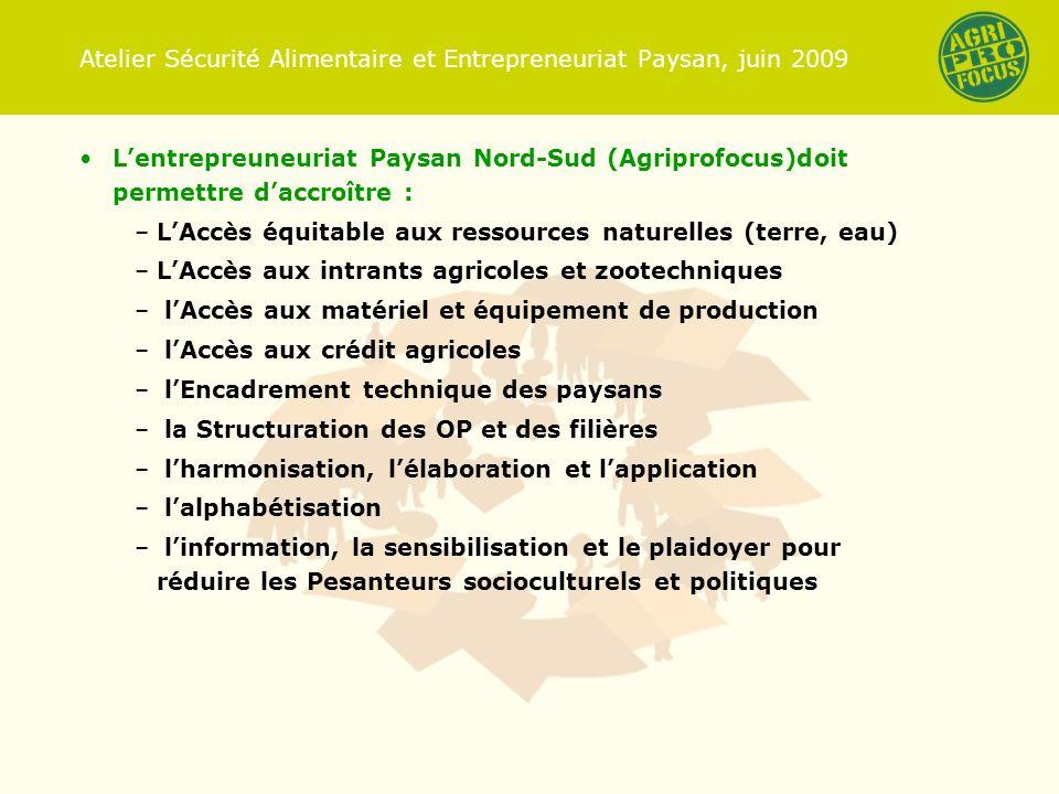 Atelier Sécurité Alimentaire et Entrepreneuriat Paysan, juin 2009 Lentrepreuneuriat Paysan Nord-Sud (Agriprofocus)doit permettre daccroître : –LAccès