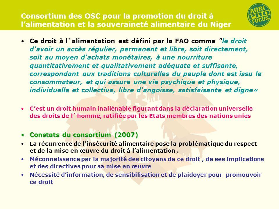 Consortium des OSC pour la promotion du droit à lalimentation et la souveraineté alimentaire du Niger Ce droit à l`alimentation est défini par la FAO