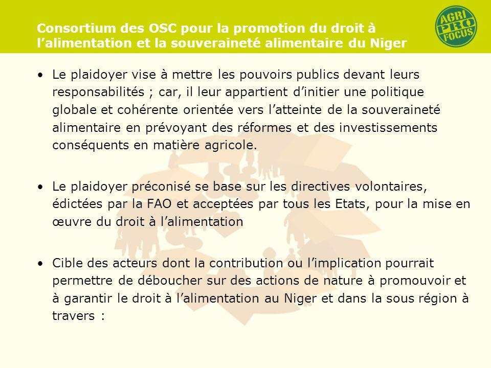 Consortium des OSC pour la promotion du droit à lalimentation et la souveraineté alimentaire du Niger Le plaidoyer vise à mettre les pouvoirs publics