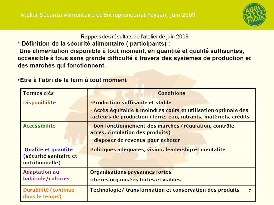 Rappels des résultats de latelier de juin 2009 * Définition de la sécurité alimentaire ( participants) : Une alimentation disponible à tout moment, en