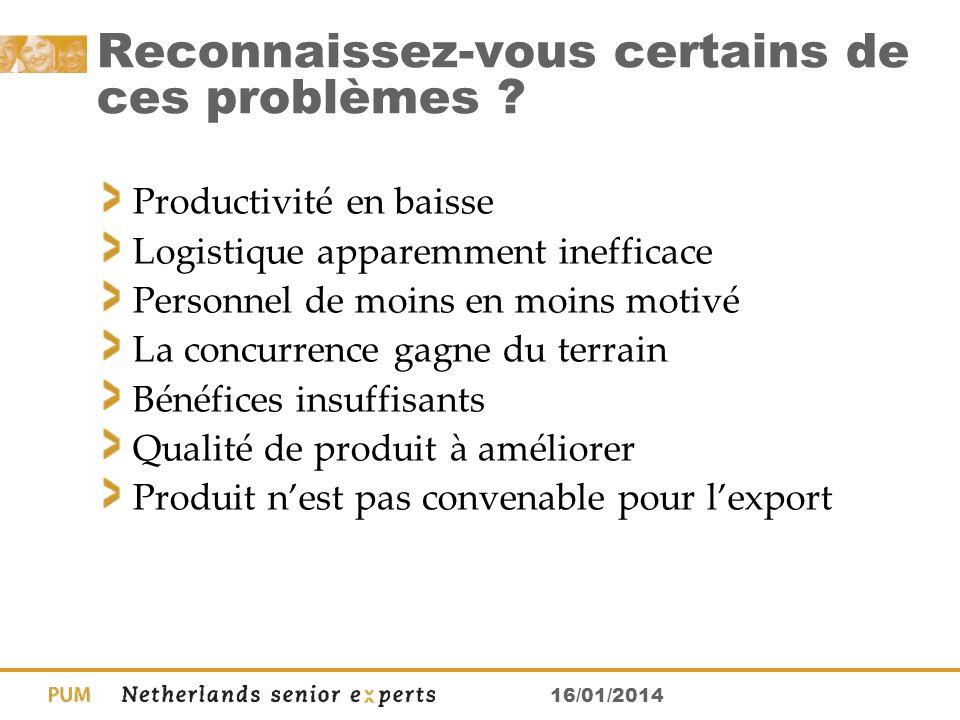 16/01/2014 Reconnaissez-vous certains de ces problèmes ? Productivité en baisse Logistique apparemment inefficace Personnel de moins en moins motivé L