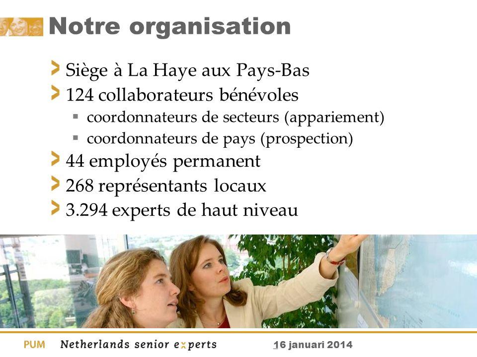 _ 16 januari 2014 Notre organisation Siège à La Haye aux Pays-Bas 124 collaborateurs bénévoles coordonnateurs de secteurs (appariement) coordonnateurs
