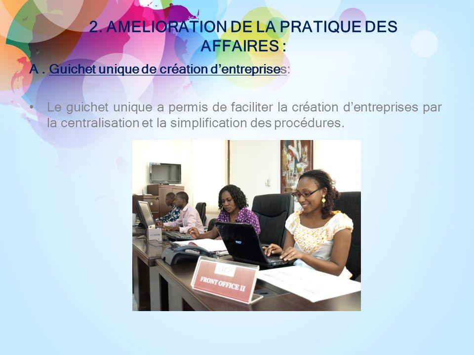 2. AMELIORATION DE LA PRATIQUE DES AFFAIRES : A.