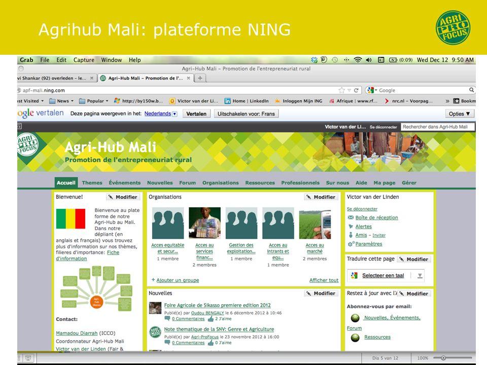 Agrihub Mali: plateforme NING