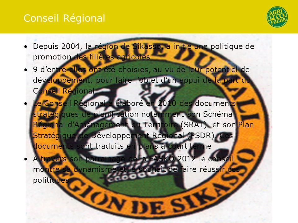Conseil Régional Depuis 2004, la région de Sikasso, a initié une politique de promotion des filières agricoles 9 dentre elles ont été choisies, au vu de leur potentiel de développement, pour faire lobjet dun appui de la part du Conseil Régional Le Conseil Régional a élaboré en 2010 des documents stratégiques de planification notamment son Schéma Régional dAménagement du Territoire (SRAT) et son Plan Stratégique de Développement Régional (PSDR).
