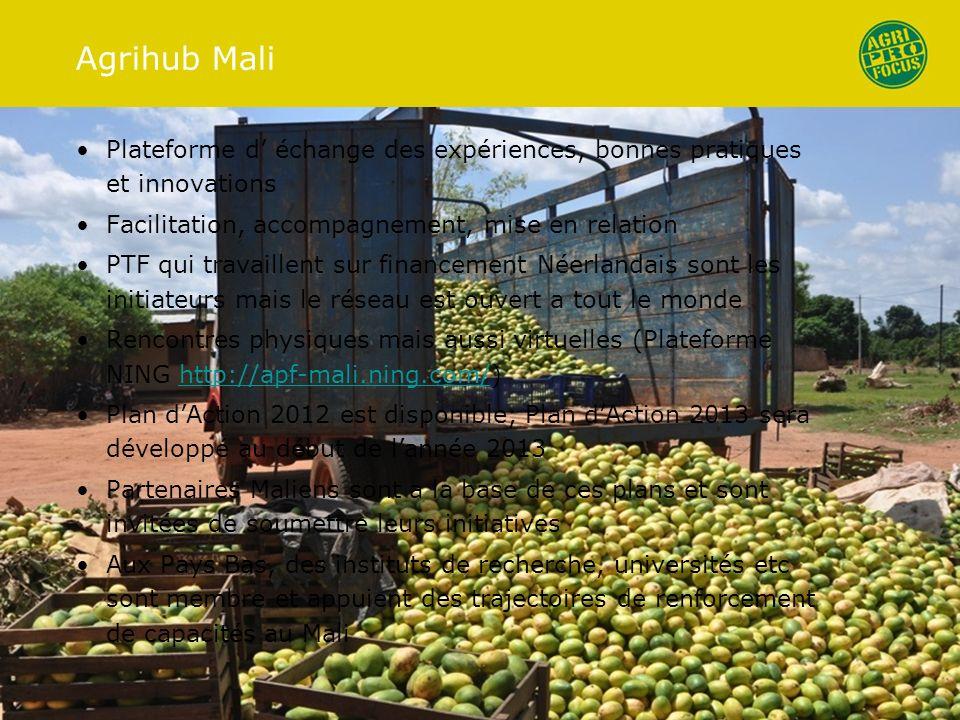 Agrihub Mali Plateforme d échange des expériences, bonnes pratiques et innovations Facilitation, accompagnement, mise en relation PTF qui travaillent sur financement Néerlandais sont les initiateurs mais le réseau est ouvert a tout le monde Rencontres physiques mais aussi virtuelles (Plateforme NING http://apf-mali.ning.com/)http://apf-mali.ning.com/ Plan dAction 2012 est disponible; Plan dAction 2013 sera développé au début de lannée 2013 Partenaires Maliens sont a la base de ces plans et sont invitées de soumettre leurs initiatives Aux Pays Bas, des instituts de recherche, universités etc sont membre et appuient des trajectoires de renforcement de capacités au Mali