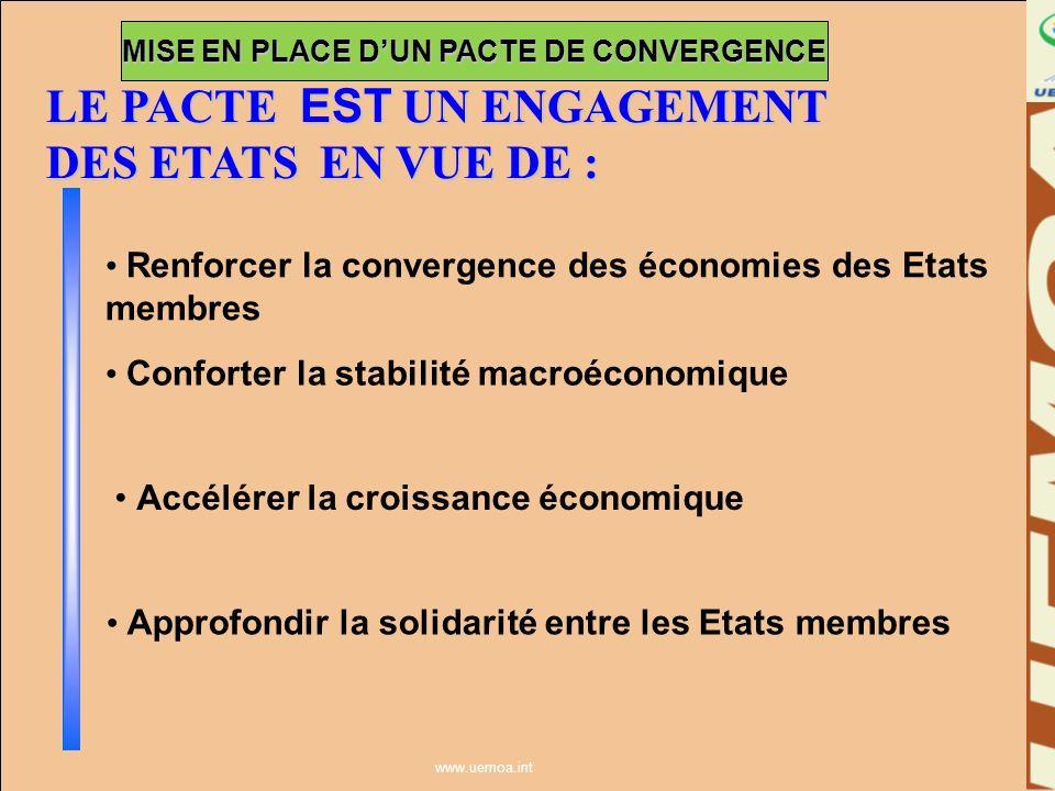 www.uemoa.int Échéance de convergence Critères de convergence Conditions de convergence Programme pluri-annuel de convergence ORGANISATION DU PACTE DE CONVERGENCE