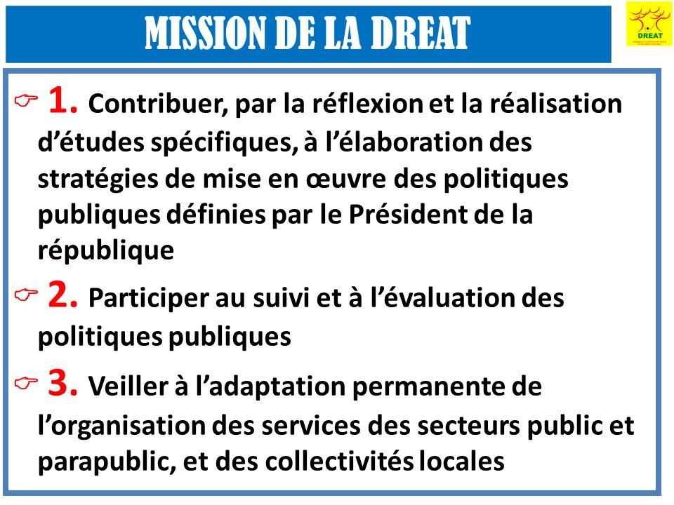 1. Contribuer, par la réflexion et la réalisation détudes spécifiques, à lélaboration des stratégies de mise en œuvre des politiques publiques définie