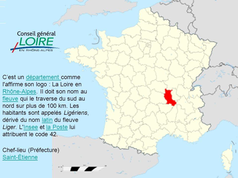 Cest un département comme l'affirme son logo : La Loire en Rhône-Alpes. Il doit son nom au fleuve qui le traverse du sud au nord sur plus de 100 km. L