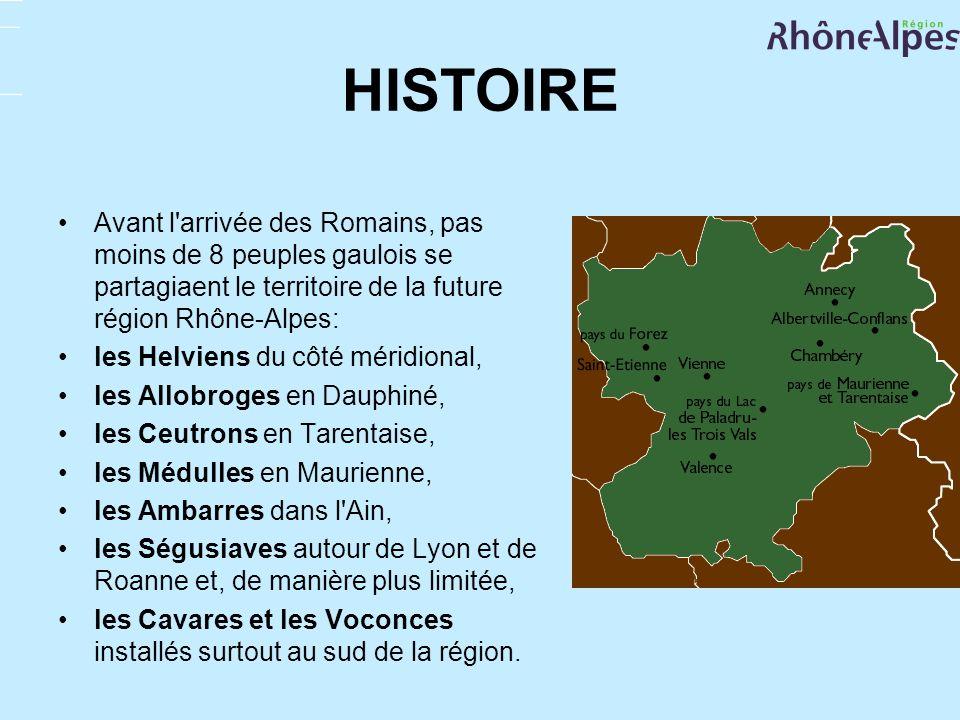 HISTOIRE Avant l'arrivée des Romains, pas moins de 8 peuples gaulois se partagiaent le territoire de la future région Rhône-Alpes: les Helviens du côt