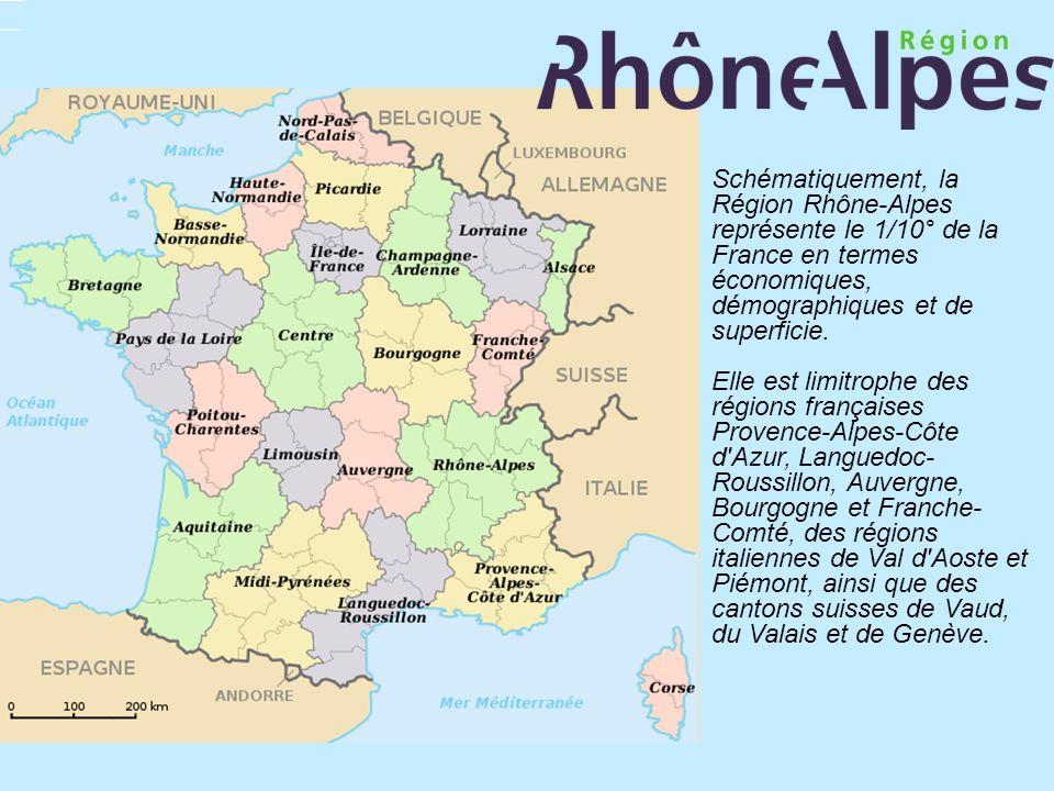 Schématiquement, la Région Rhône-Alpes représente le 1/10° de la France en termes économiques, démographiques et de superficie. Elle est limitrophe de