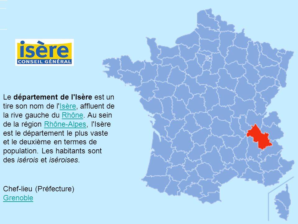 Le département de l'Isère est un tire son nom de l'Isère, affluent de la rive gauche du Rhône. Au sein de la région Rhône-Alpes, l'Isère est le départ