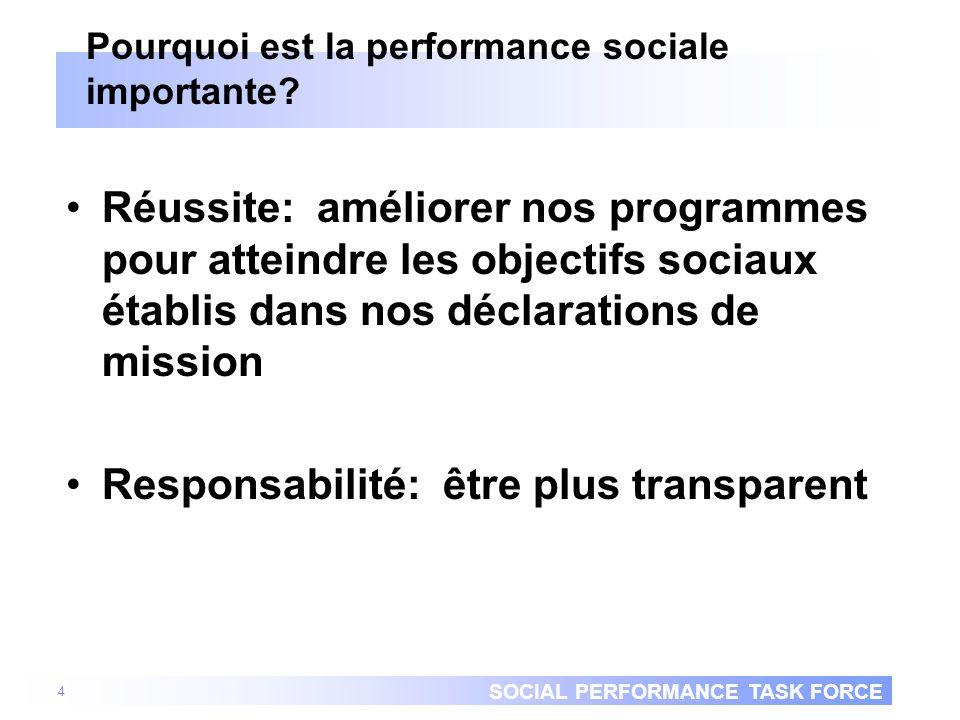 SOCIAL PERFORMANCE TASK FORCE Gérer délibérément pour atteindre résultats désirés Performance nest pas sécondaire Ce qui est explicitement défini et mesuré est ce qui est géré –Besoin de définir performance désirée –Besoir de mesurer les résultats par rapport à la performance désirée 5 Gestion de la performance Performance sociale Performance financière Mission