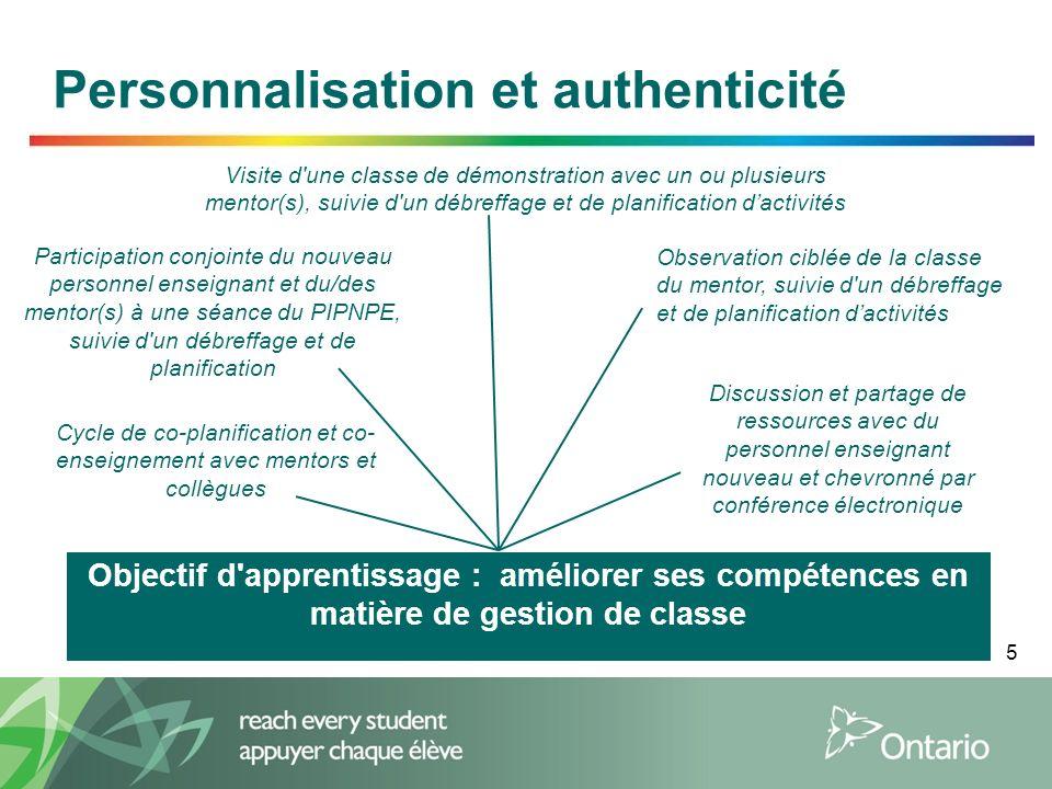 5 Personnalisation et authenticité Discussion et partage de ressources avec du personnel enseignant nouveau et chevronné par conférence électronique V