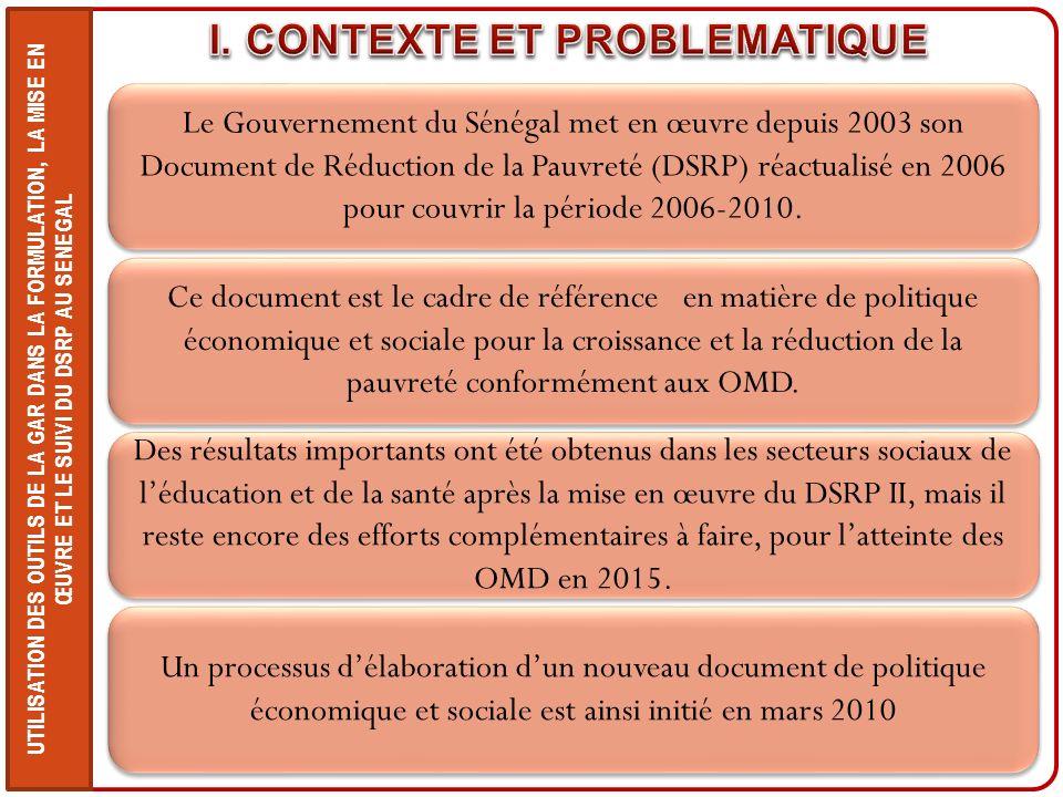UTILISATION DES OUTILS DE LA GAR DANS LA FORMULATION, LA MISE EN ŒUVRE ET LE SUIVI DU DSRP AU SENEGAL Le Gouvernement du Sénégal met en œuvre depuis 2