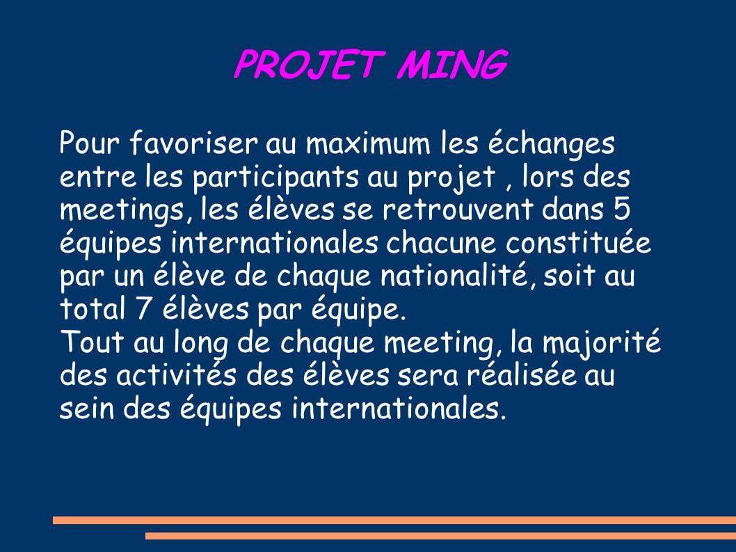 PROJET MING Pour favoriser au maximum les échanges entre les participants au projet, lors des meetings, les élèves se retrouvent dans 5 équipes internationales chacune constituée par un élève de chaque nationalité, soit au total 7 élèves par équipe.
