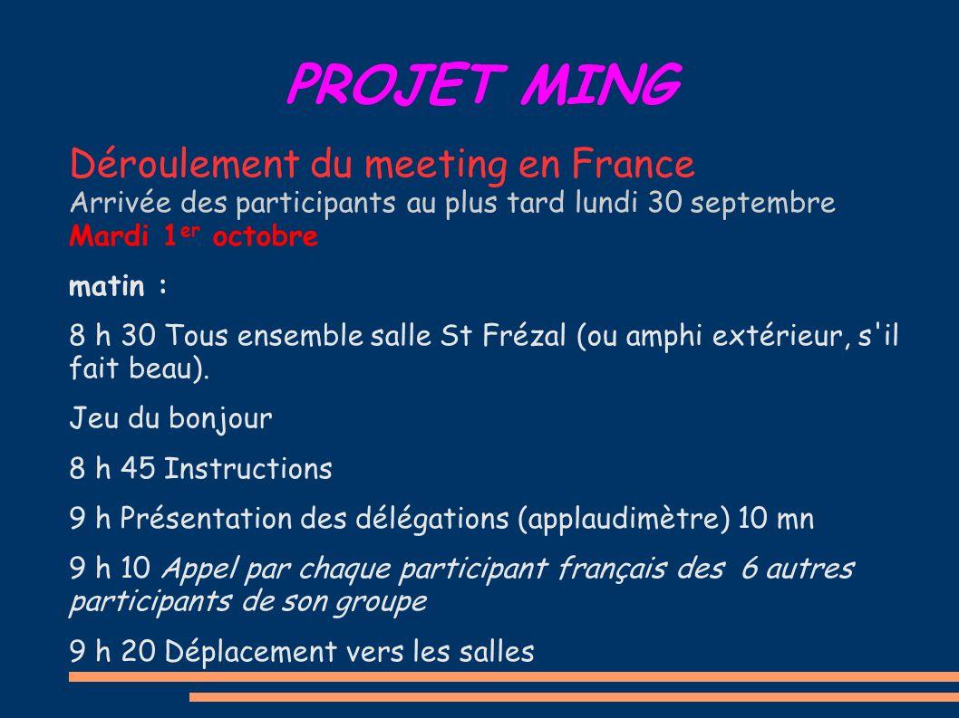 PROJET MING Déroulement du meeting en France Arrivée des participants au plus tard lundi 30 septembre Mardi 1 er octobre matin : 8 h 30 Tous ensemble salle St Frézal (ou amphi extérieur, s il fait beau).