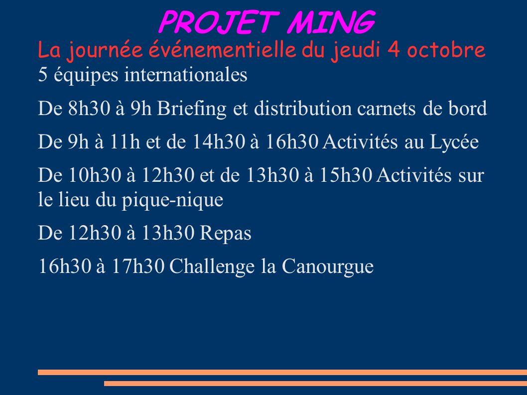 PROJET MING La journée événementielle du jeudi 4 octobre 5 équipes internationales De 8h30 à 9h Briefing et distribution carnets de bord De 9h à 11h et de 14h30 à 16h30 Activités au Lycée De 10h30 à 12h30 et de 13h30 à 15h30 Activités sur le lieu du pique-nique De 12h30 à 13h30 Repas 16h30 à 17h30 Challenge la Canourgue