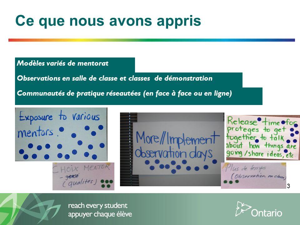 3 Ce que nous avons appris Modèles variés de mentorat Observations en salle de classe et classes de démonstration Communautés de pratique réseautées (en face à face ou en ligne)