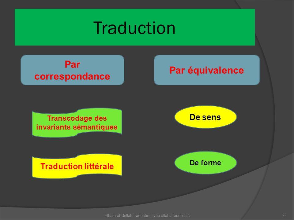 Traduction Par correspondance Par équivalence Transcodage des invariants sémantiques Traduction littérale De sens De forme 26Elhata.abdellah traductio