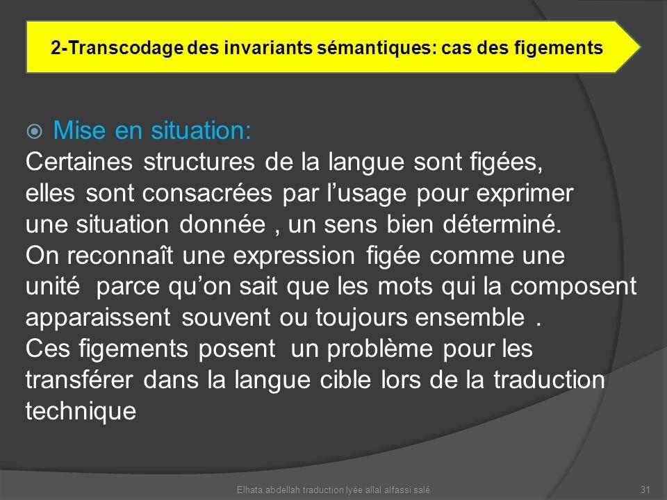 Mise en situation: Certaines structures de la langue sont figées, elles sont consacrées par lusage pour exprimer une situation donnée, un sens bien dé