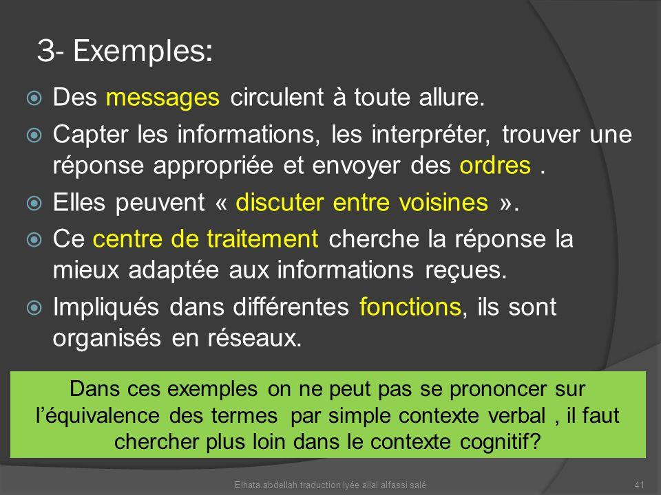3- Exemples: Des messages circulent à toute allure. Capter les informations, les interpréter, trouver une réponse appropriée et envoyer des ordres. El