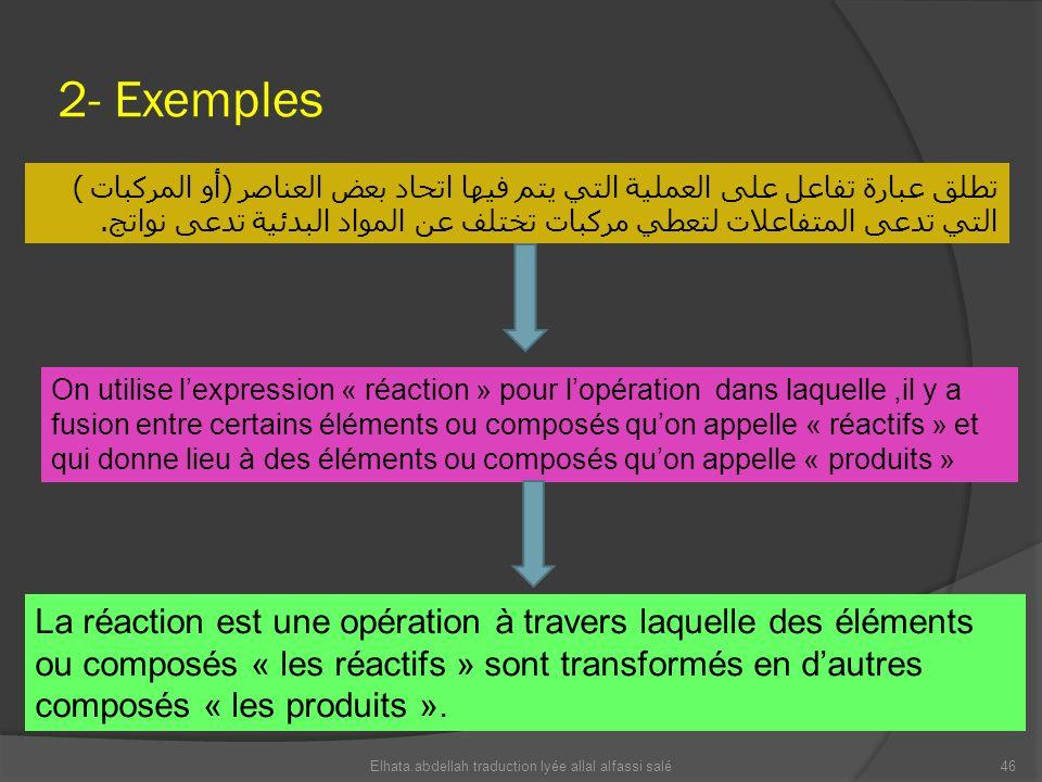 2- Exemples تطلق عبارة تفاعل على العملية التي يتم فيها اتحاد بعض العناصر ( أو المركبات ) التي تدعى المتفاعلات لتعطي مركبات تختلف عن المواد البدئية تدع
