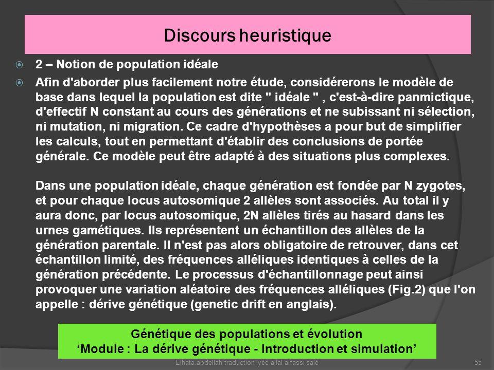 Discours heuristique 2 – Notion de population idéale Afin d'aborder plus facilement notre étude, considérerons le modèle de base dans lequel la popula