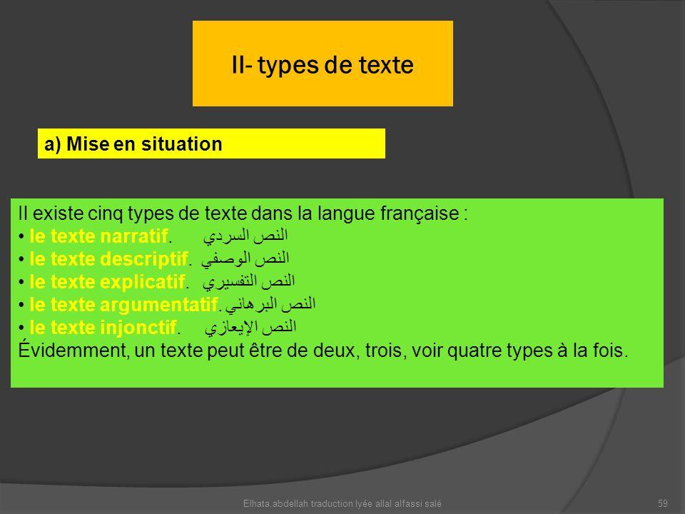 II- types de texte a) Mise en situation Il existe cinq types de texte dans la langue française : le texte narratif. النص السردي le texte descriptif. ا