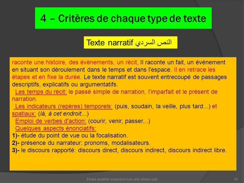 4 – Critères de chaque type de texte Texte narratif النص السردي raconte une histoire, des évènements, un récit, Il raconte un fait, un événement en si
