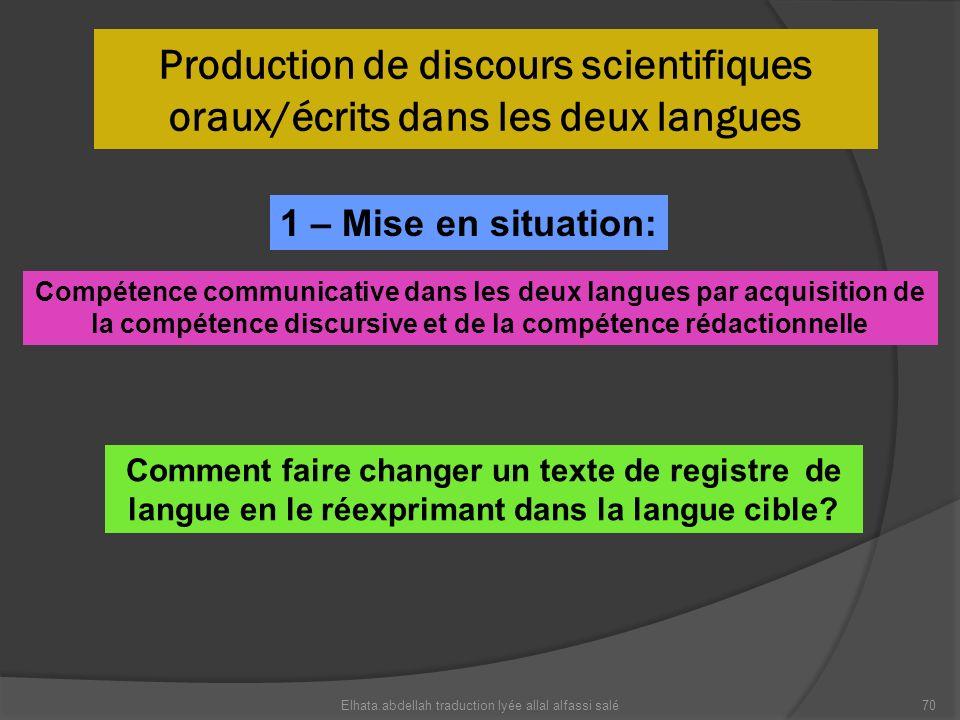 Production de discours scientifiques oraux/écrits dans les deux langues Elhata.abdellah traduction lyée allal alfassi salé70 Compétence communicative