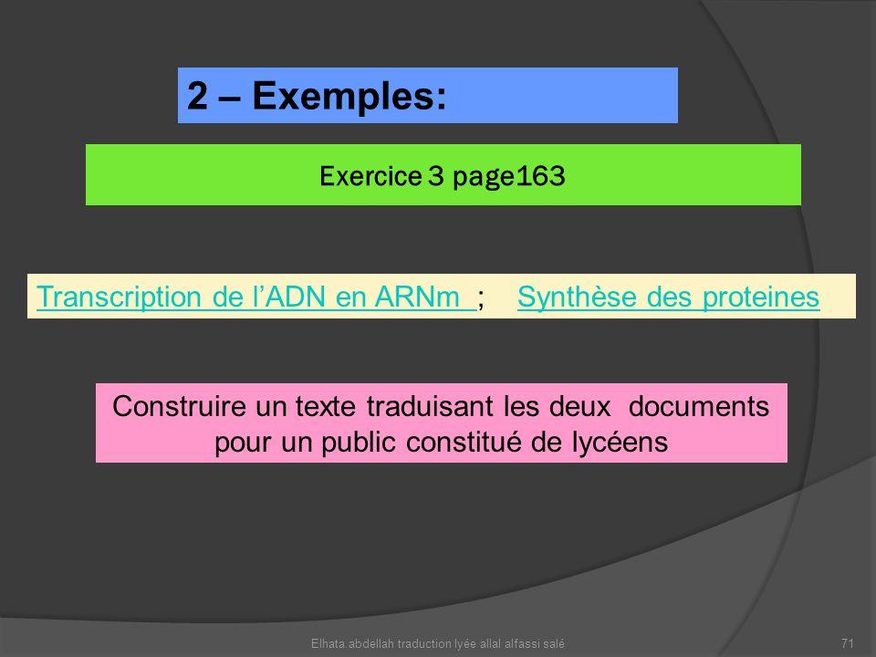 Exercice 3 page163 Elhata.abdellah traduction lyée allal alfassi salé71 2 – Exemples: Transcription de lADN en ARNm Transcription de lADN en ARNm ; Sy
