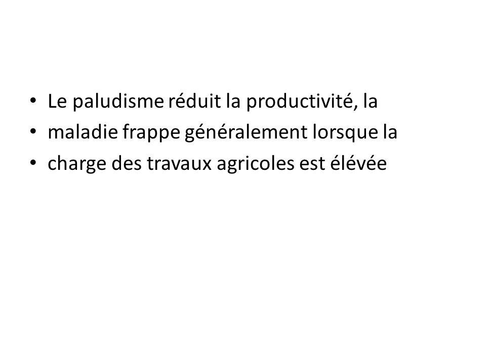 Le paludisme réduit la productivité, la maladie frappe généralement lorsque la charge des travaux agricoles est élévée