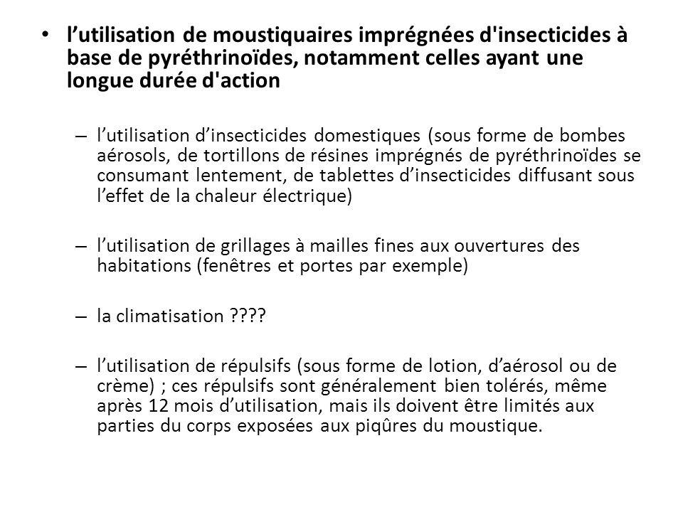 lutilisation de moustiquaires imprégnées d'insecticides à base de pyréthrinoïdes, notamment celles ayant une longue durée d'action – lutilisation dins