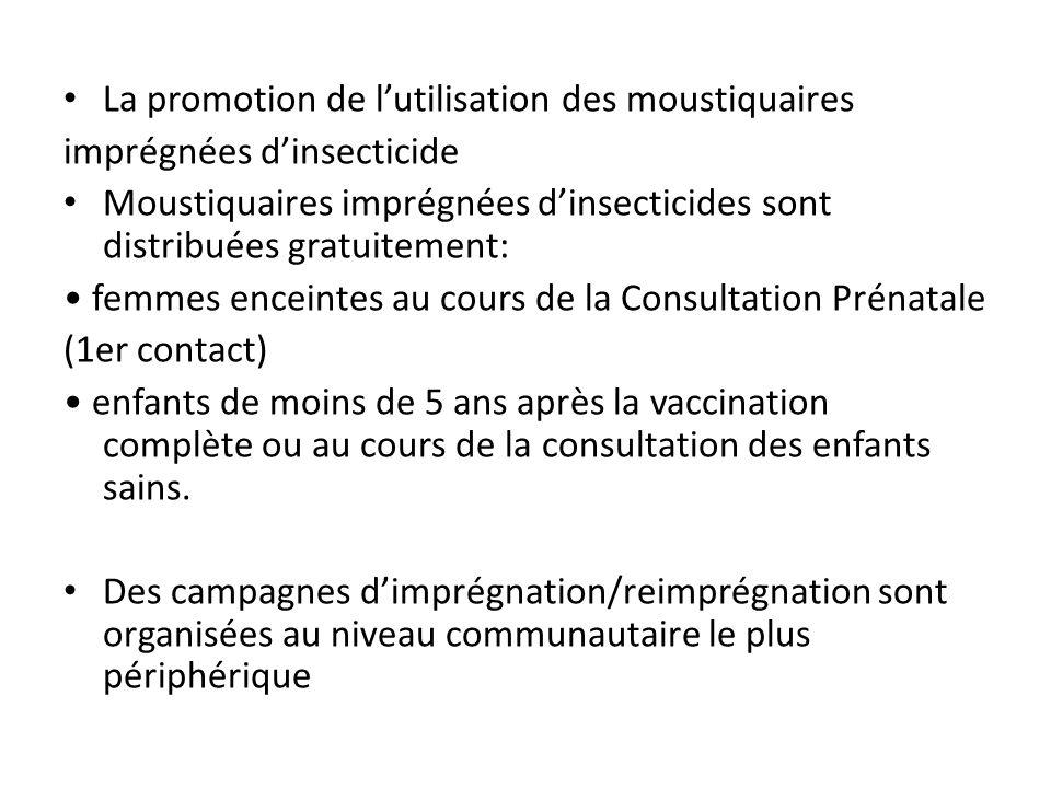 La promotion de lutilisation des moustiquaires imprégnées dinsecticide Moustiquaires imprégnées dinsecticides sont distribuées gratuitement: femmes en