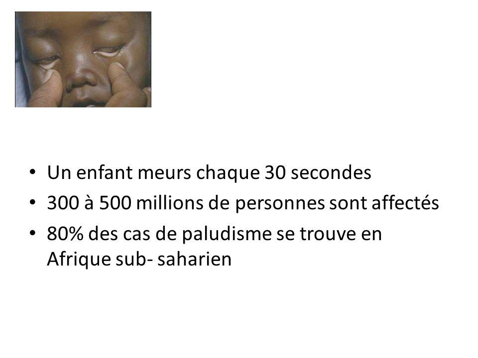 Un enfant meurs chaque 30 secondes 300 à 500 millions de personnes sont affectés 80% des cas de paludisme se trouve en Afrique sub- saharien