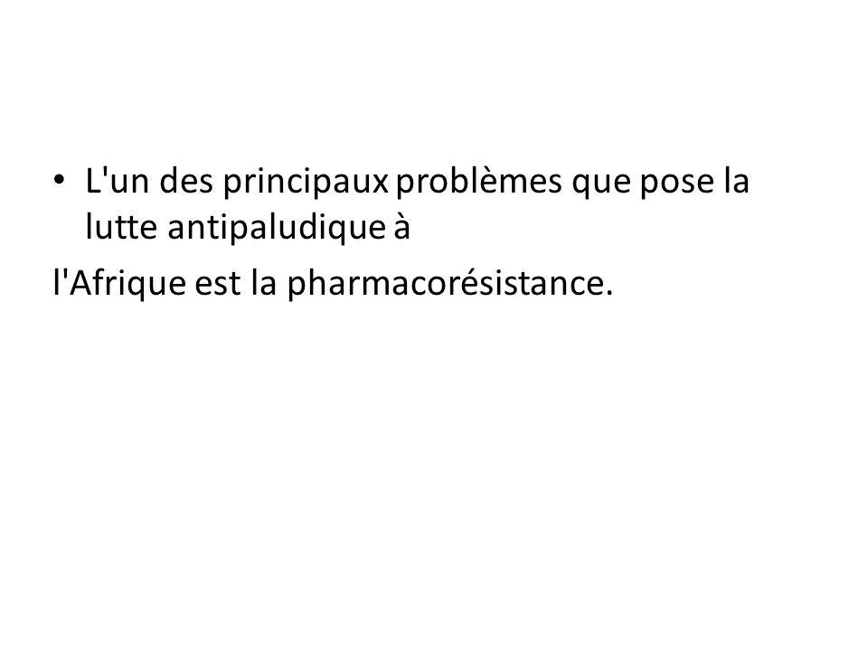 L'un des principaux problèmes que pose la lutte antipaludique à l'Afrique est la pharmacorésistance.