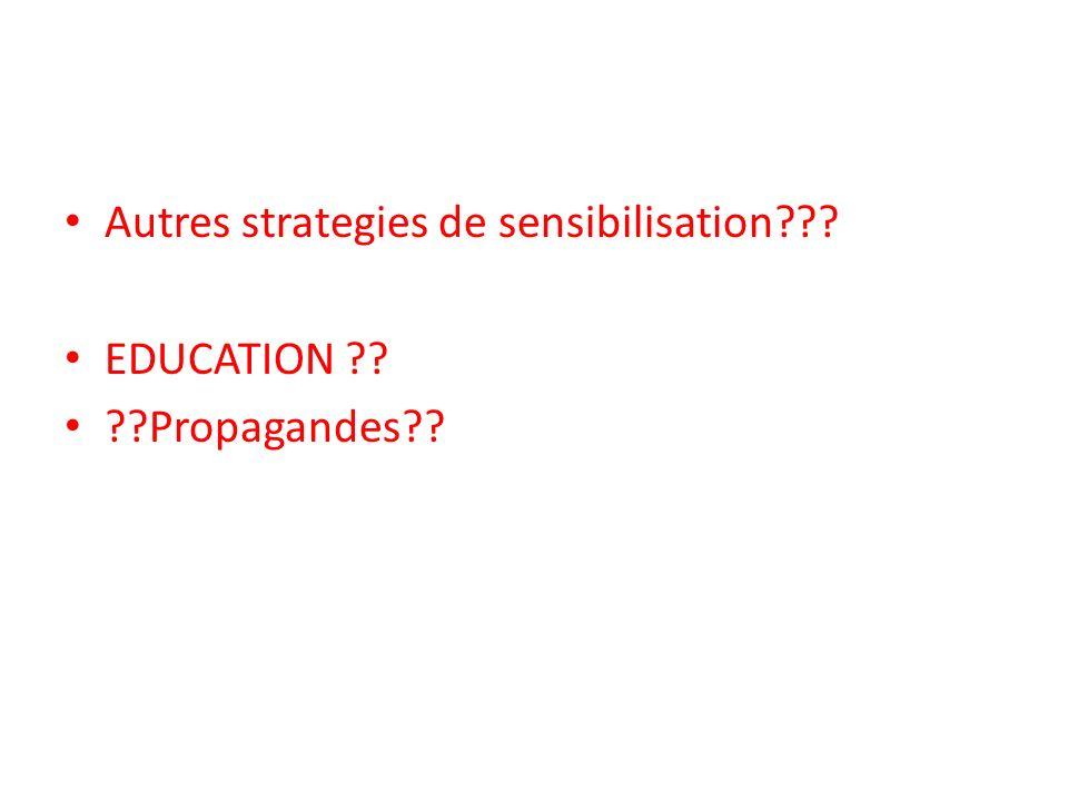 Autres strategies de sensibilisation??? EDUCATION ?? ??Propagandes??